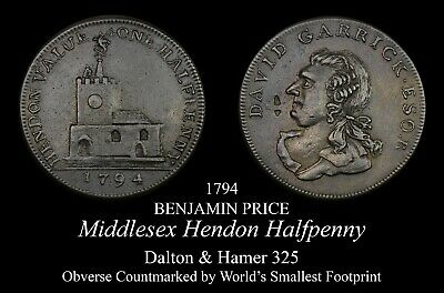 Middlesex Hendon Conder Halfpenny D&H 325, countermarked