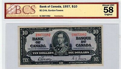 Bank of Canada Banknote, 1937 $10.00 AUNC 58 Original.
