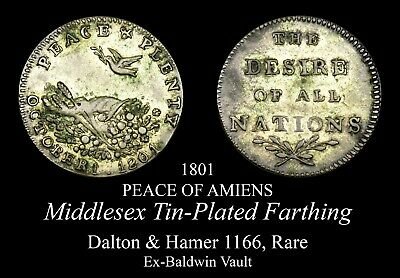 1801 Middlesex Conder Farthing D&H 1166, Rare tin-plated variety