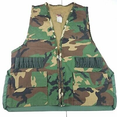 327d13ab3bfcc SPORTS AFIELD HUNTING Game Vest Mens LARGE Woodland Camo Shell Loops ...