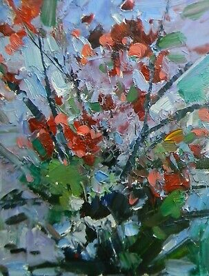 JOSE TRUJILLO - OIL PAINTING Impressionism MODERN Floral COA FAUVISM - ABSTRACT