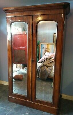 Good Quality Victorian Mahogany Double  Wardrobe Mirror Doors Great Condition