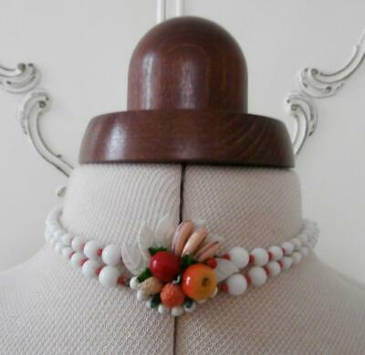 BNIP Vintage 1950's White Glass Bead Central Fruit Motif Choker Necklet Necklace