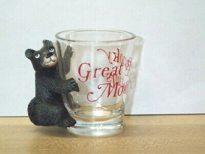 "Vintage Great Smoky Mountains With Black Bear Cub Clear Shot Glass 2 1/4"" Tall"