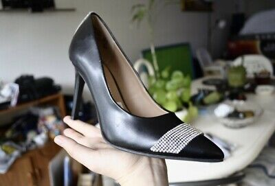 beedef8ad7 NIB Christian Siriano Heels Black With Silver Detail Faux Leather Grip  Bottom