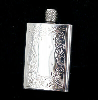 Antique Art Deco Rhodium Plated Scroll Engraved Perfume Bottle Flask 2.25""