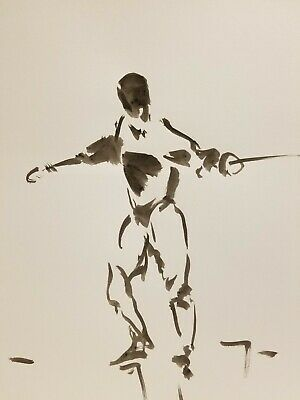 JOSE TRUJILLO ABSTRACT EXPRESSIONISM INK WASH on Paper Fencing Figure Sport Art