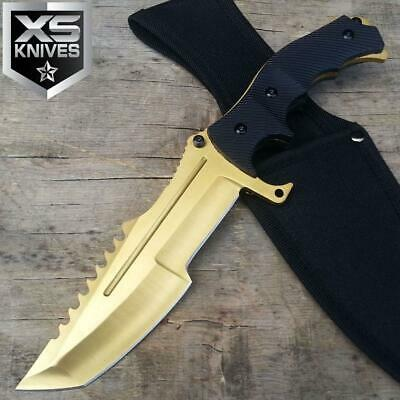 11'' Tactical Full Tang GOLD Fixed Blade Hunting Survival Knife Bowie