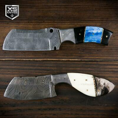 2pc SET Genuine DAMASCUS STEEL Cleaver HORN Handle FULL TANG Fixed Knife Hunting