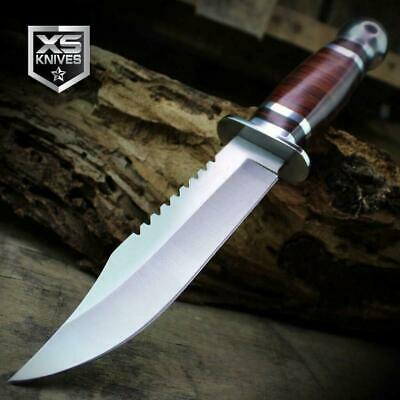 Combat SURVIVAL Hunting Tactical BOWIE Cherry Hard Wood Fixed Blade Knife