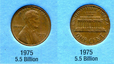 1975 P ABE Lincoln Memorial AMERICAN PENNY 1 CENT US U.S AMERICA ONE COIN #B1