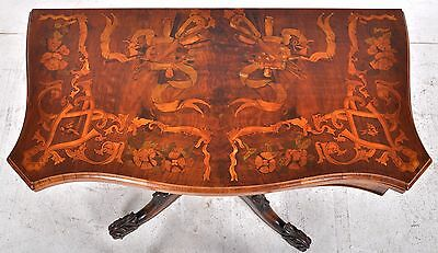 Fine antique inlaid marquetry carved Victorian flip top card game table 1860