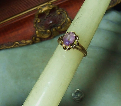 Art Deco Vintage 14k Gold Amethyst Diamond Ring Fits Both Size 7 & 6.5