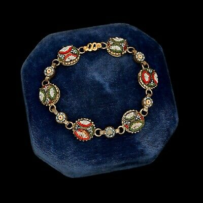 Antique Vintage Art Deco Sterling Silver Plated Italy Pietra Dura Onyx Bracelet