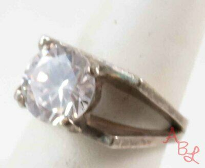 Sterling Silver Vintage 925 Faceted Art Deco White Stone Ring Sz 7 (8.3g) 756304
