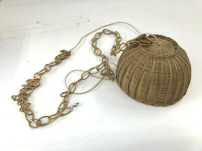 Vintage WICKER CEILING LAMP mid century hanging shade light swag country shabby