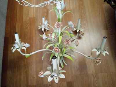 Vintage Shabby French Toleware Chandelier 5 Arm Tested Roses Floral Garden