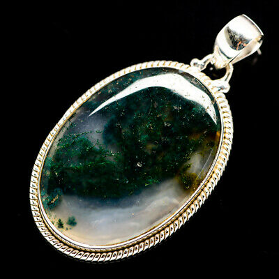 """Green Moss Agate 925 Sterling Silver Pendant 2"""" Ana Co Jewelry P690114F"""