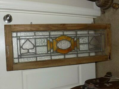 Antique  Stained Glass Transom Wood Leaded Framed Window 38x14