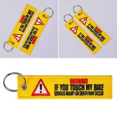 1PC Keychain Tag Keychains Embroidery Yellow Danger Launch Key Ring Chain. Q0C6