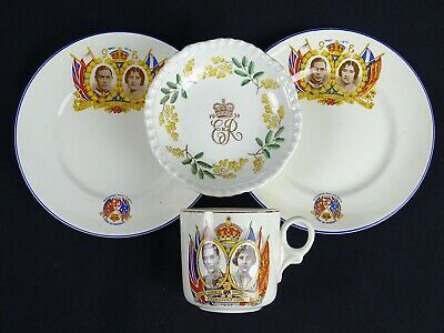 Old English Monarchy Memorabilia Inc Coronation c1937 Queen c1954 Plates & Cup
