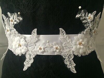 Wedding Bridal Dress Belt White Sash Applique Beads Diamonds Lace Handmade/Sewn