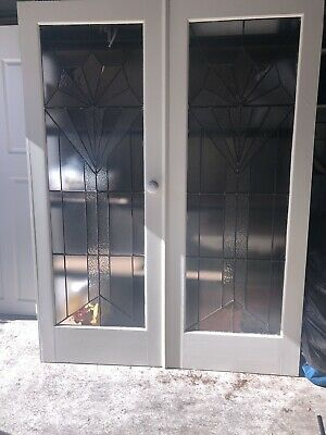 Beautiful leadlight glass Art Deco style double door set