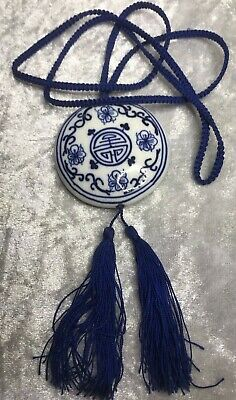 Vintage Chinese Blue & White Porcelain Cord knot knotted Pendant Necklace
