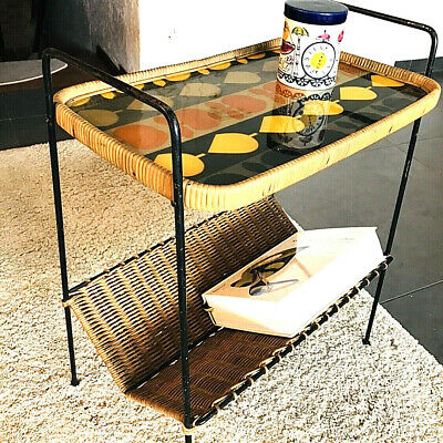 "50er 60"" Beistelltisch Magazine Table Basket Korbgeflecht Rockabilly String Ära"