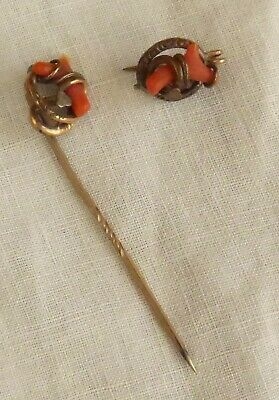 PAIR of VICTORIAN CORAL BRANCH SALMON COLORED STICK PINS for HAT TIE or CRAVAT