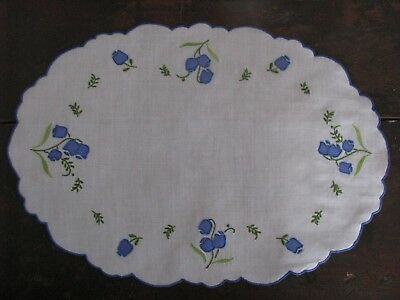 Vtg Madeira Placemats Linen 10 Blue Floral Hand Embroidery Oval Table Ready