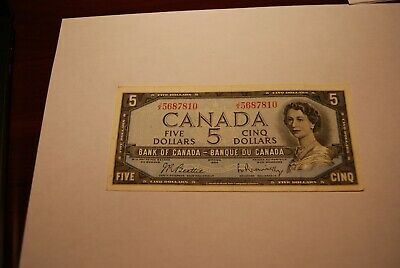 Canada Five 5 Dollar Note 1954 Beattie Rasminsky JX Prefix
