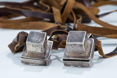A PAIR OF MINIATURE TEFILLIN WITH EARLY SILVER CASES. Dutch,1852 ANTIQUE JUDAICA
