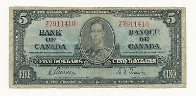 1937 BANK OF CANADA FIVE 5 DOLLAR BANK NOTE Nice/Very Good/No Probllems