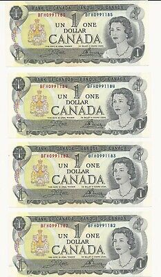Bank of Canada 1973, 4 Consecutive 1$ Bank notes.XF/AU+Choice
