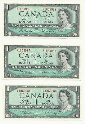 1954 Bank of Canada 3 Consecutive 1$ Bank Notes -AU/UNC