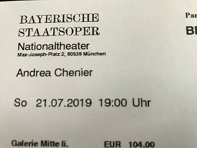 Ticket for Andrea Chénier (with Anja Harteros) Munich, July 21, 2019