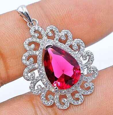 Buy Now 4CT Ruby & White Topaz 925  Sterling Silver Pendant Jewelry, V3