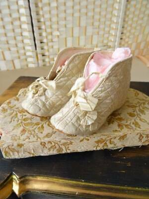 A Stunning Pair Of 19th Century Victorian quilted silk Child's Shoes C.1860