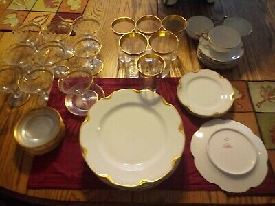Haviland China 1929 French Limoges, white w/ 24k GOLD TRIM