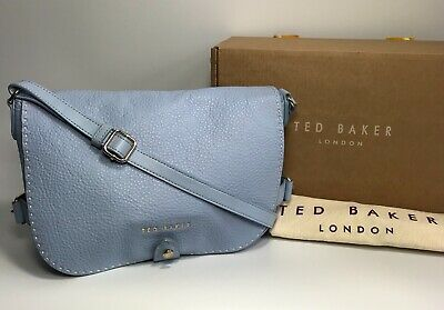 Beautiful TED BAKER *Reagan* Stab Stitch Baby Blue Leather Shoulder Bag RRP £229