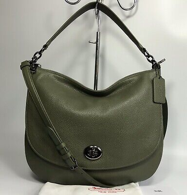 Immaculate COACH *Turnlock Hobo* Olive Pebbled Leather Shoulder Bag *RRP $350*