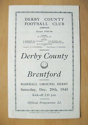DERBY COUNTY v BRENTFORD 1945/1946 *Good Condition Football Programme*