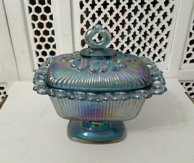 Indiana Harvest Blue Carnival Glass Oblong Open Lace Footed Candy Dish With Lid