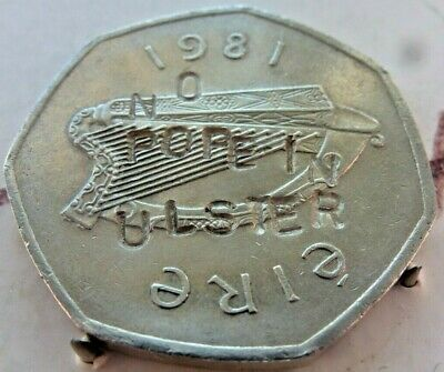 Ireland Irish Eire overstamped with NO POPE IN ULSTER 50p 1981 coin