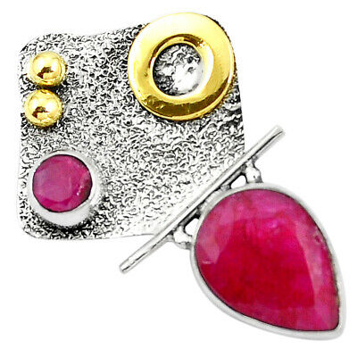 Victorian Natural Red Ruby 925 Sterling Silver Two Tone Pendant M73795