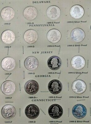 Fifty State Commemorative Quarters For The Years 1999-2005 With Album