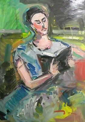Jose Trujillo Oil Painting Reader Reading Woman Sitting Modern - Contemporary