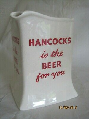 """Square Wade Water Jug, """"Hancocks Is The Beer For You""""  5.5"""" High"""