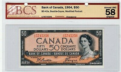 Bank of Canada Banknote, 1954 $50.00, AUNC-58 Original. See Details.